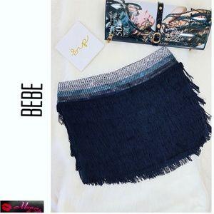 BEBE 100% Silk Mini Fringe Skirt with Sequins